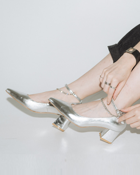 lace stone heel_silver